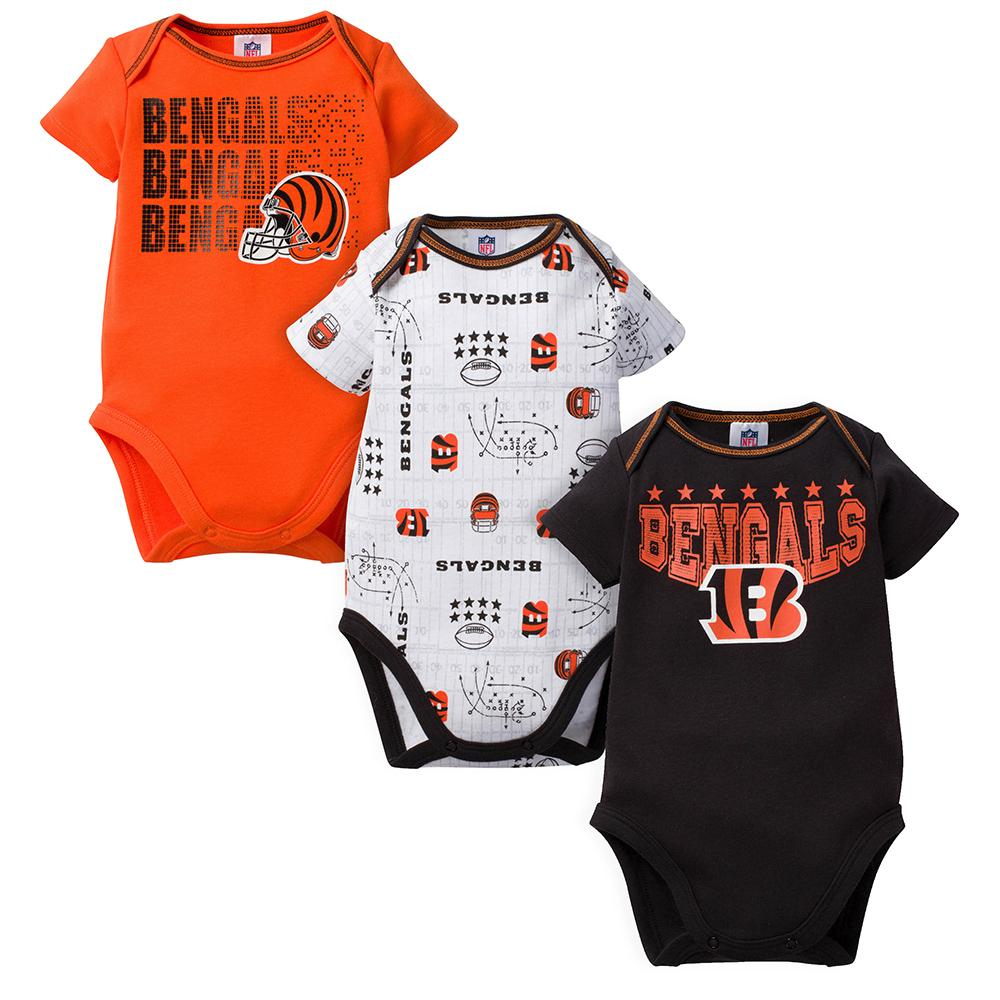 Bengals Baby Boy 3-Pack Short Sleeve Bodysuit-Gerber Childrenswear