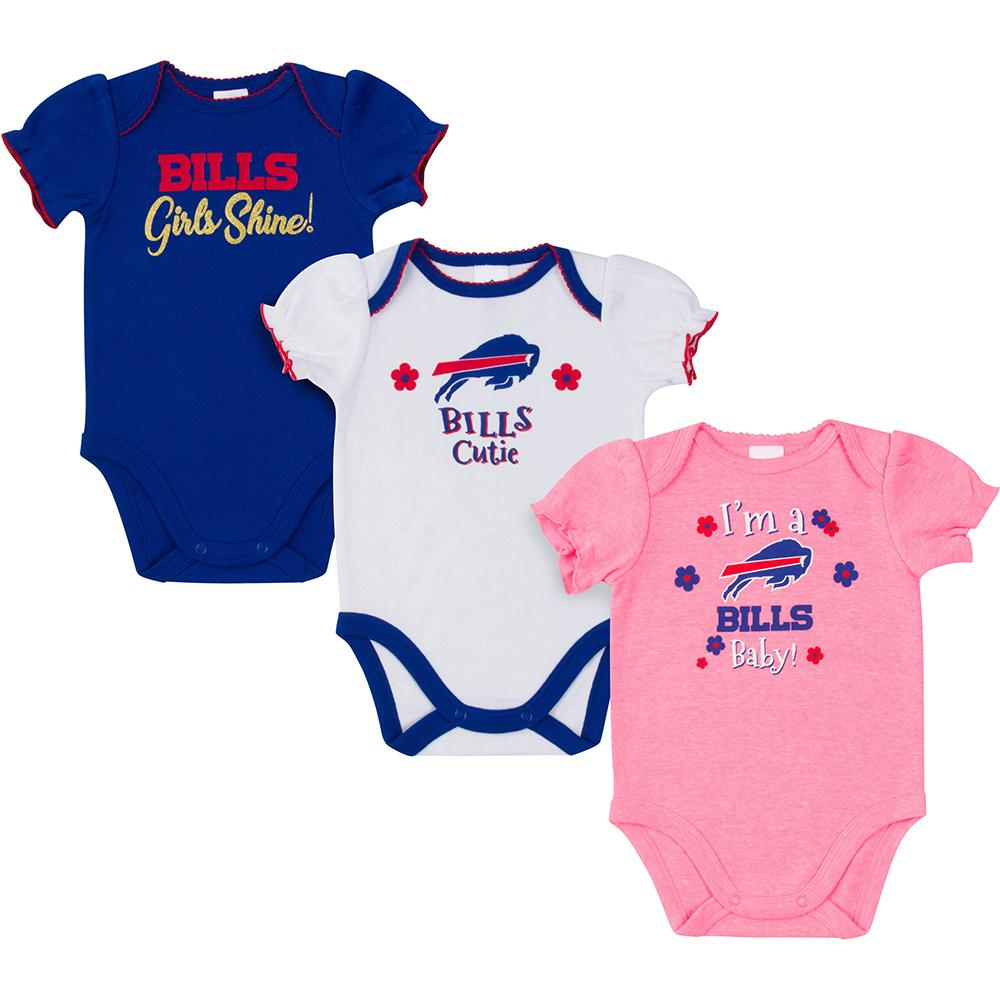 Buffalo Bills 3-Pack Baby Girl Short Sleeve Bodysuit-Gerber Childrenswear