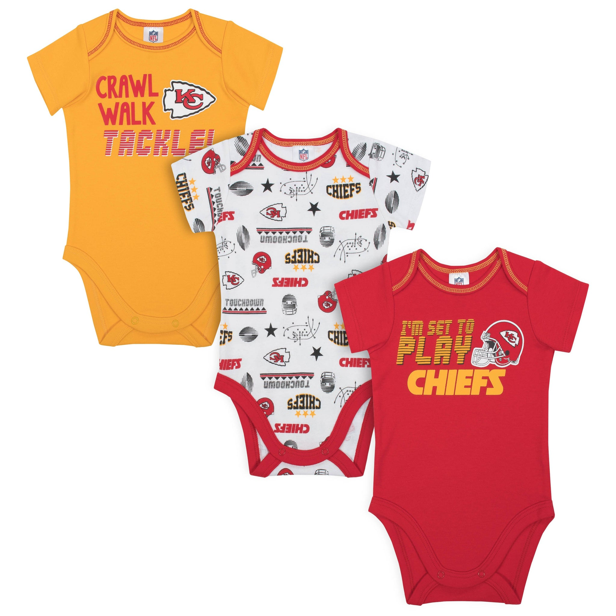 Baby Boys Kansas City Chiefs Short Sleeve Bodysuit, 3-pack-Gerber Childrenswear