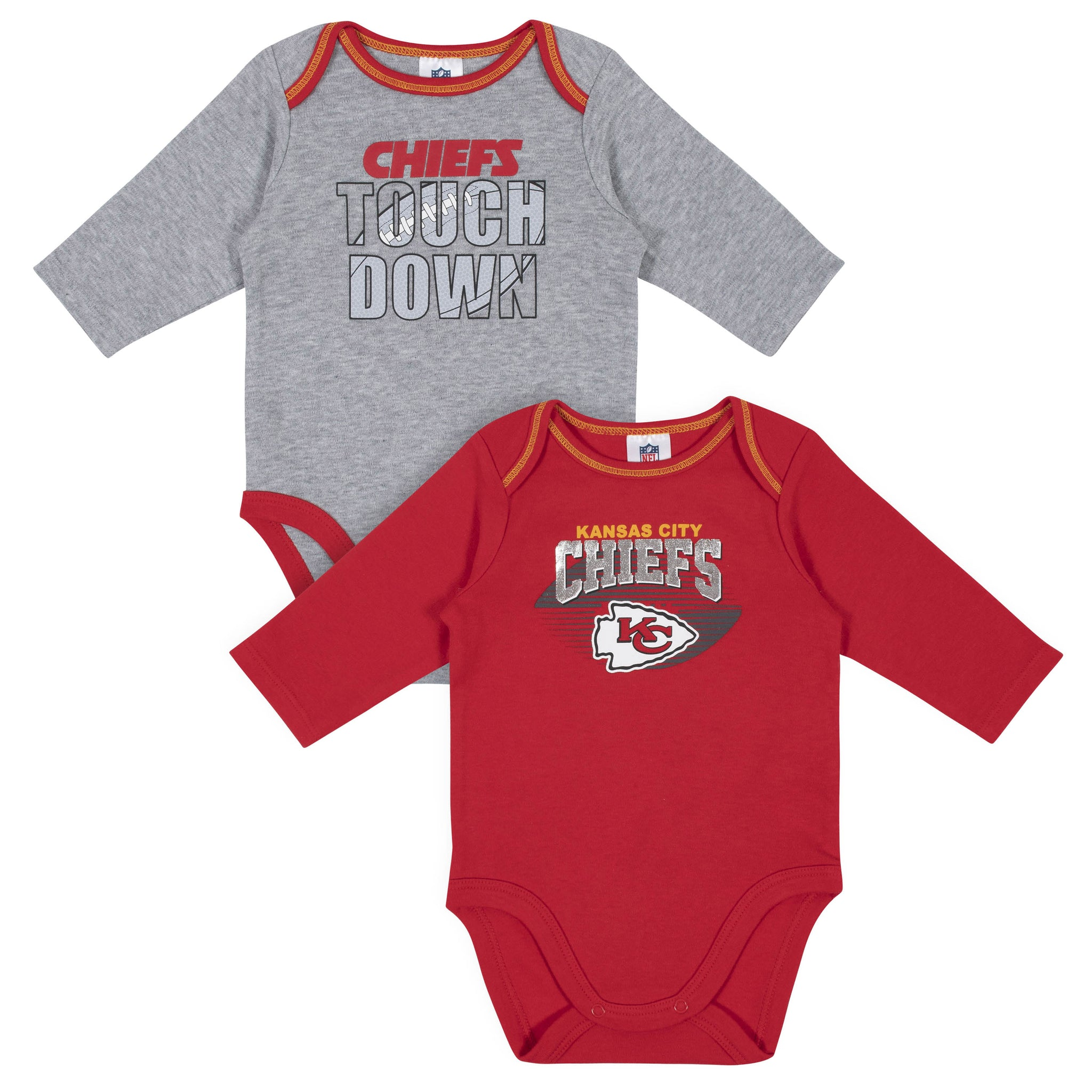 Baby Boys Kansas City Chiefs Long Sleeve Bodysuit, 2-pack