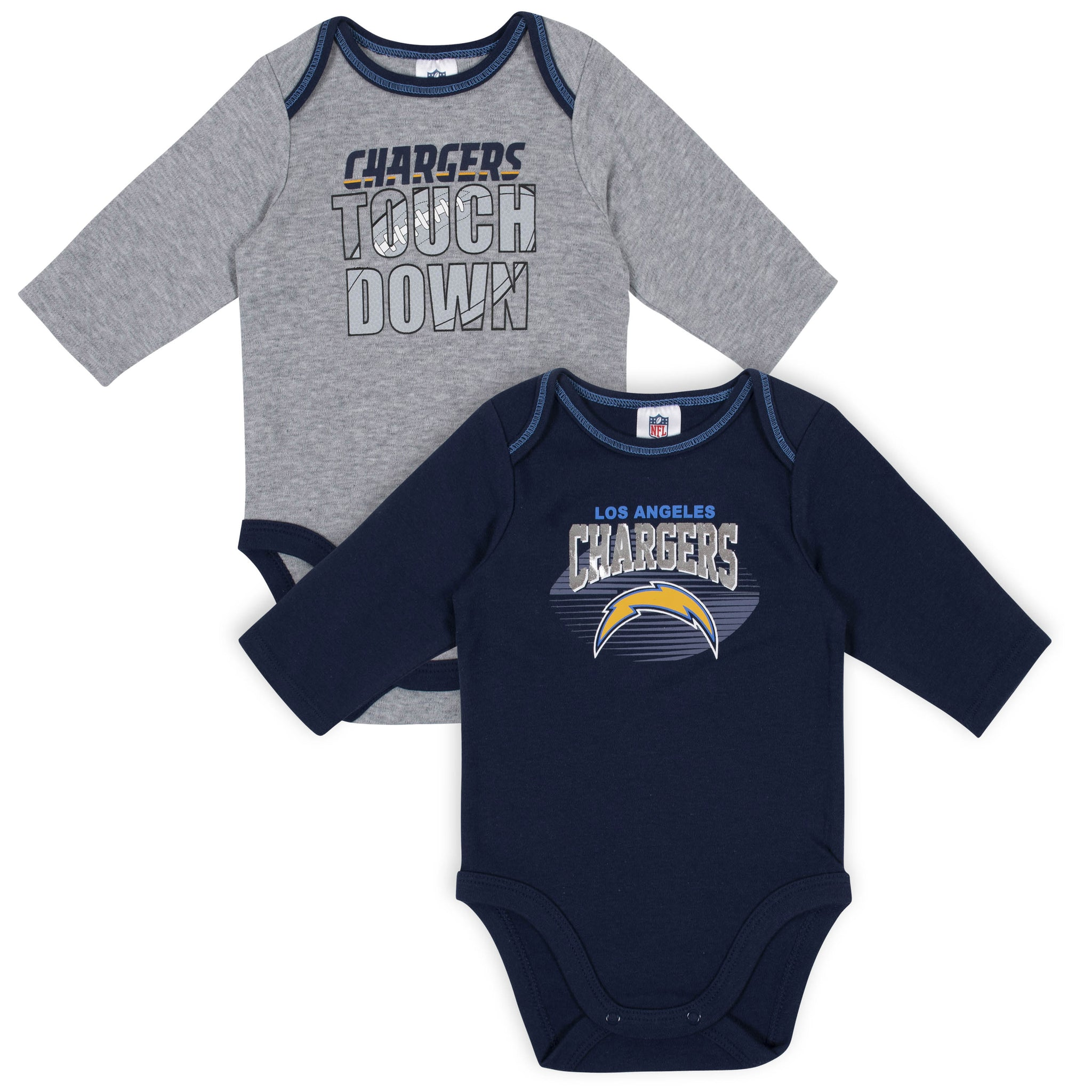 Baby Boys Los Angeles Chargers Long Sleeve Bodysuit, 2-pack