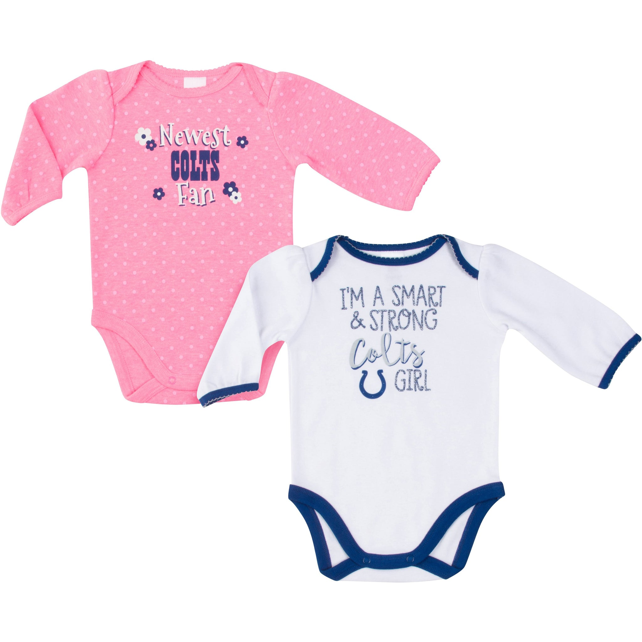 Indianapolis Colts Baby Girl Long Sleeve Bodysuit, 2-pack -Gerber Childrenswear
