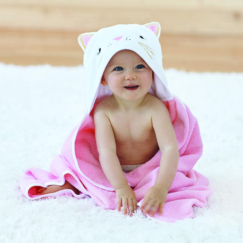 Baby Girls Hooded Towel Cute Cat Design Embroidery Pink Gingham Check