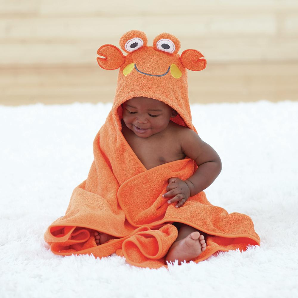 Just Born® Love to Bathe Woven Crab Hooded Towel in Orange-Gerber Childrenswear
