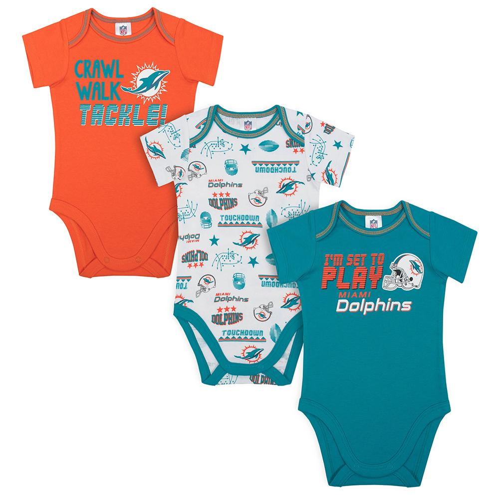 Dolphins Baby Boys 3-Pack Short Sleeve Bodysuit-Gerber Childrenswear