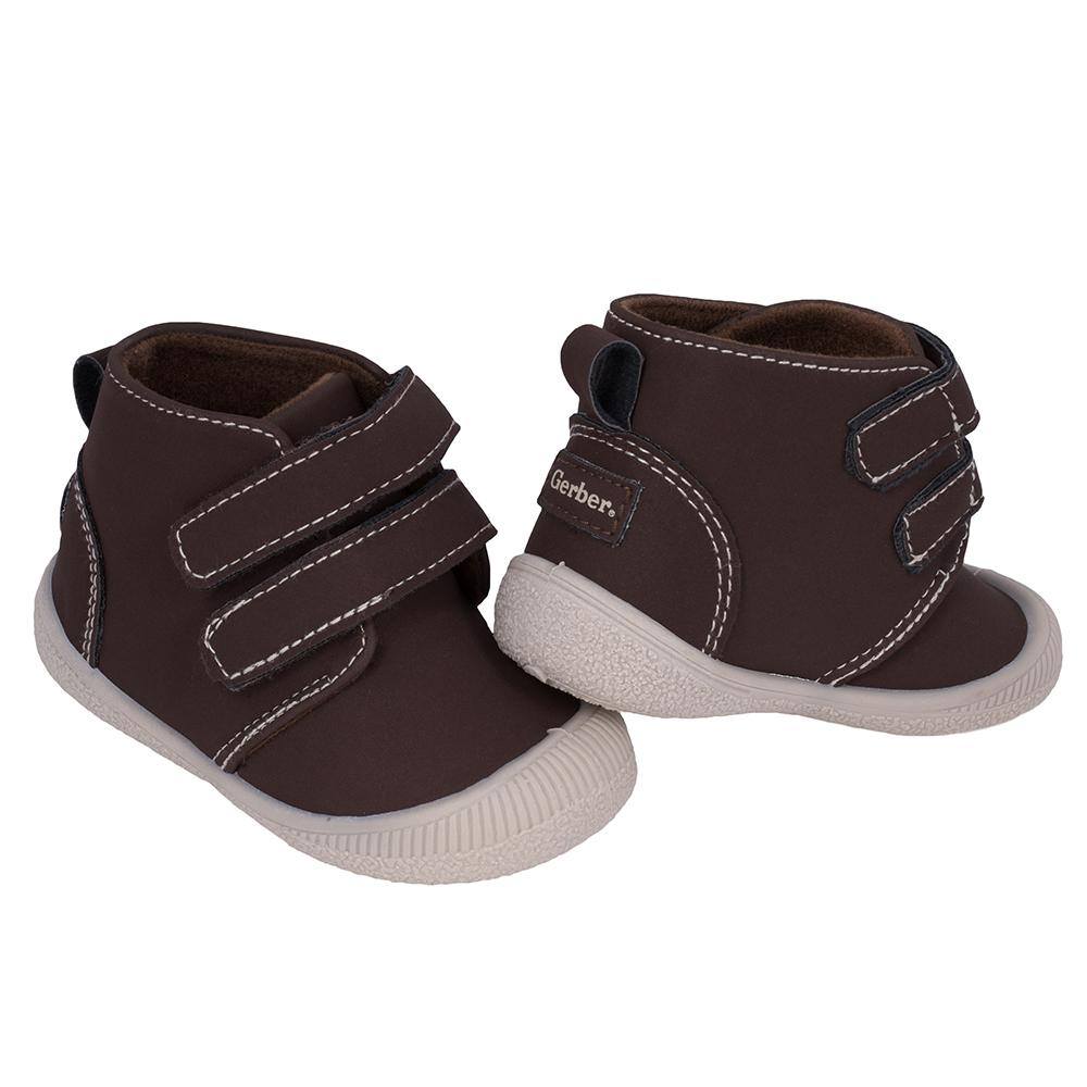 fa8820cee405a 1-Pair Boys Dark Brown/Taupe Early Walker Shoes – Gerber Childrenswear