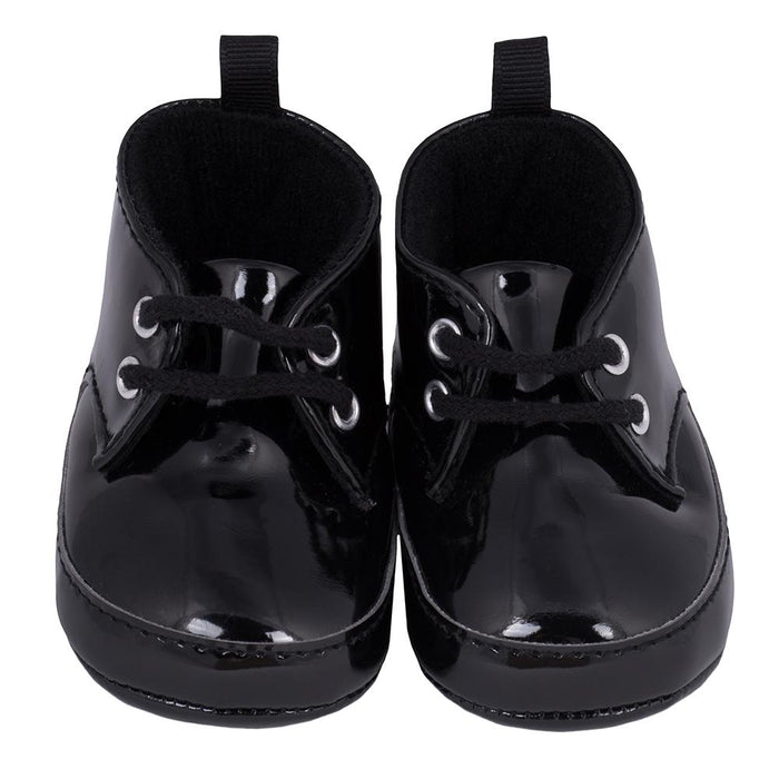 1 Pair Boys Black Patent Dress Lace Up High Top Gerber Childrenswear