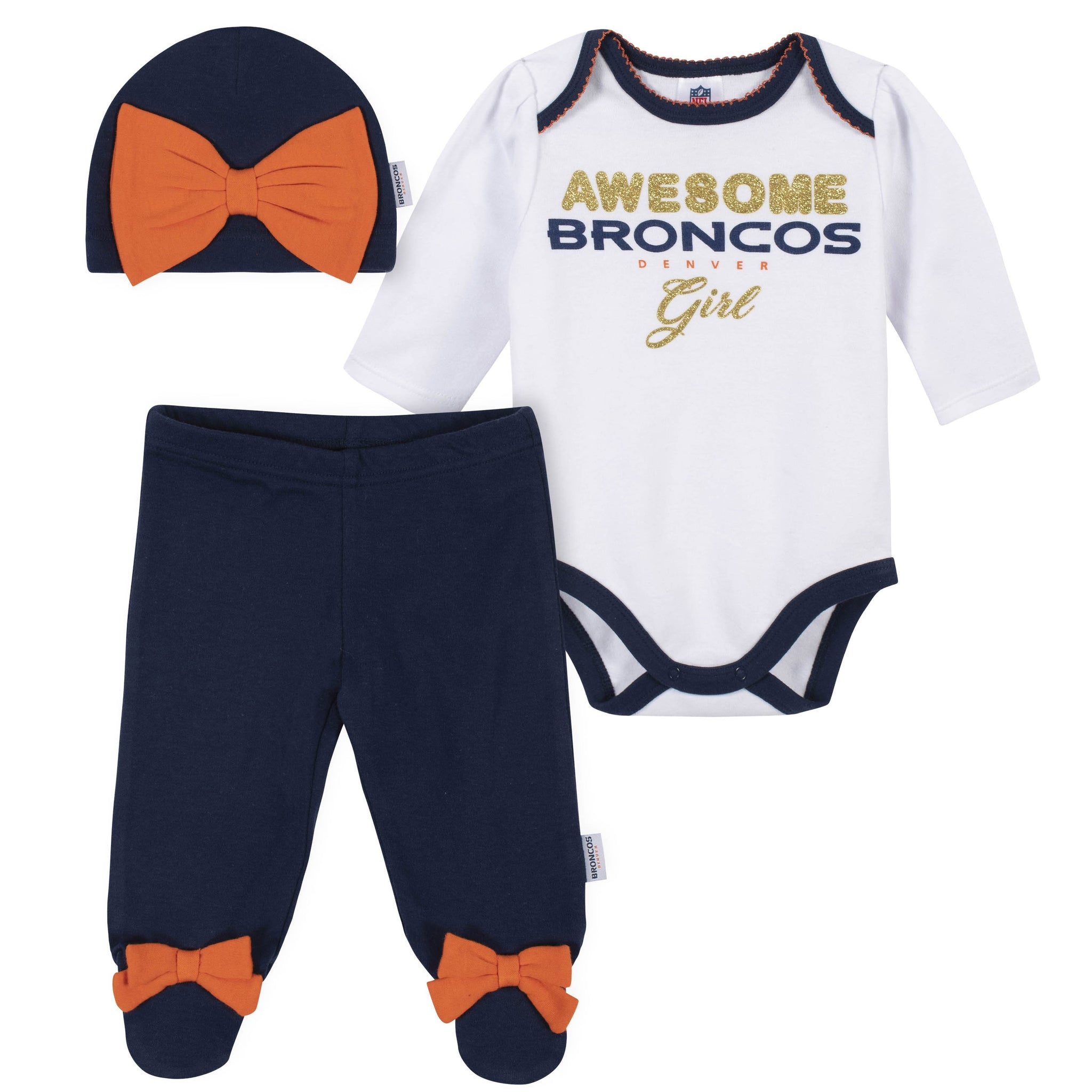 Baby Girls Denver Broncos 3-Piece Bodysuit, Pant, and Cap Set-Gerber Childrenswear