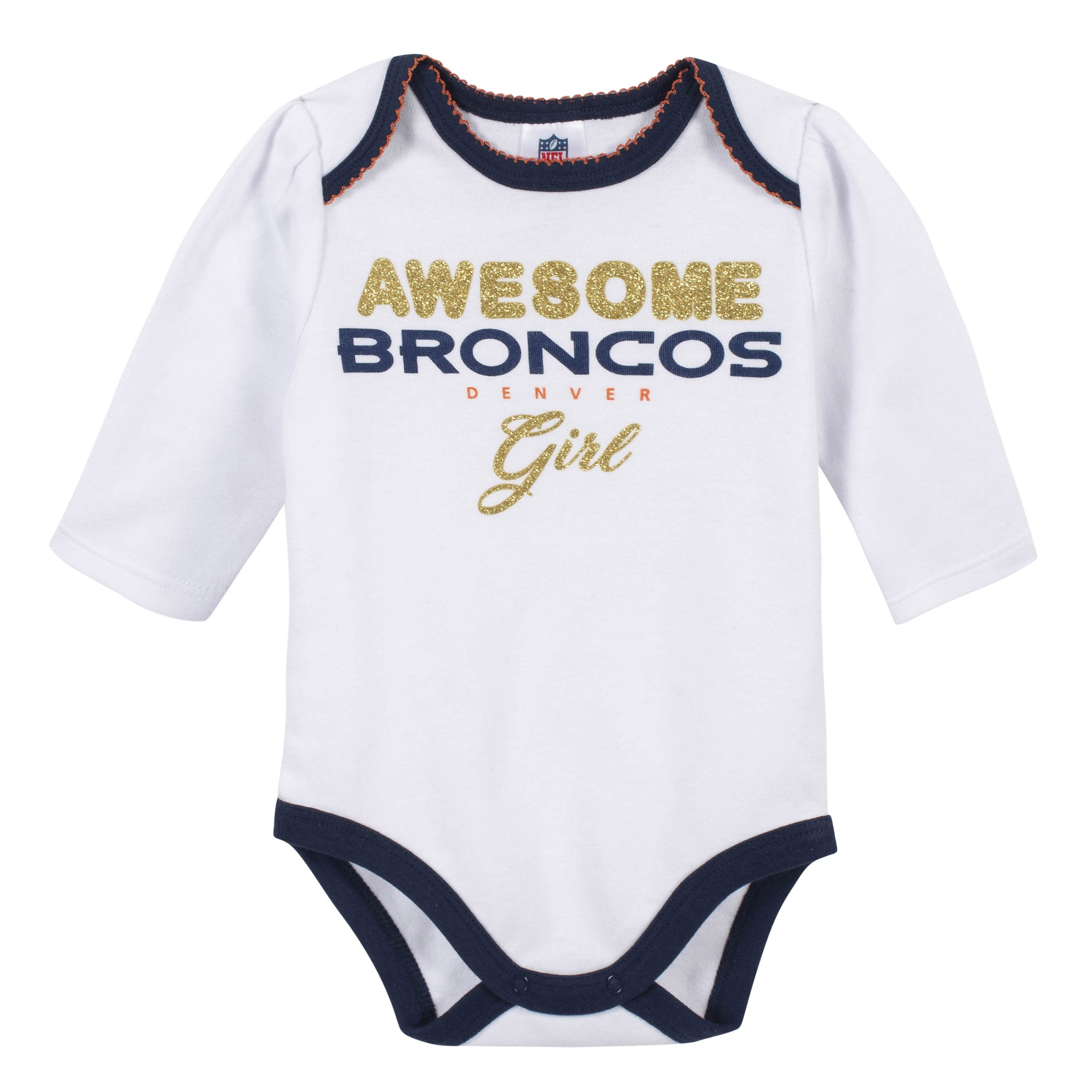 separation shoes ab8ec 797fd Baby Girls Denver Broncos 3-Piece Bodysuit, Pant, and Cap Set