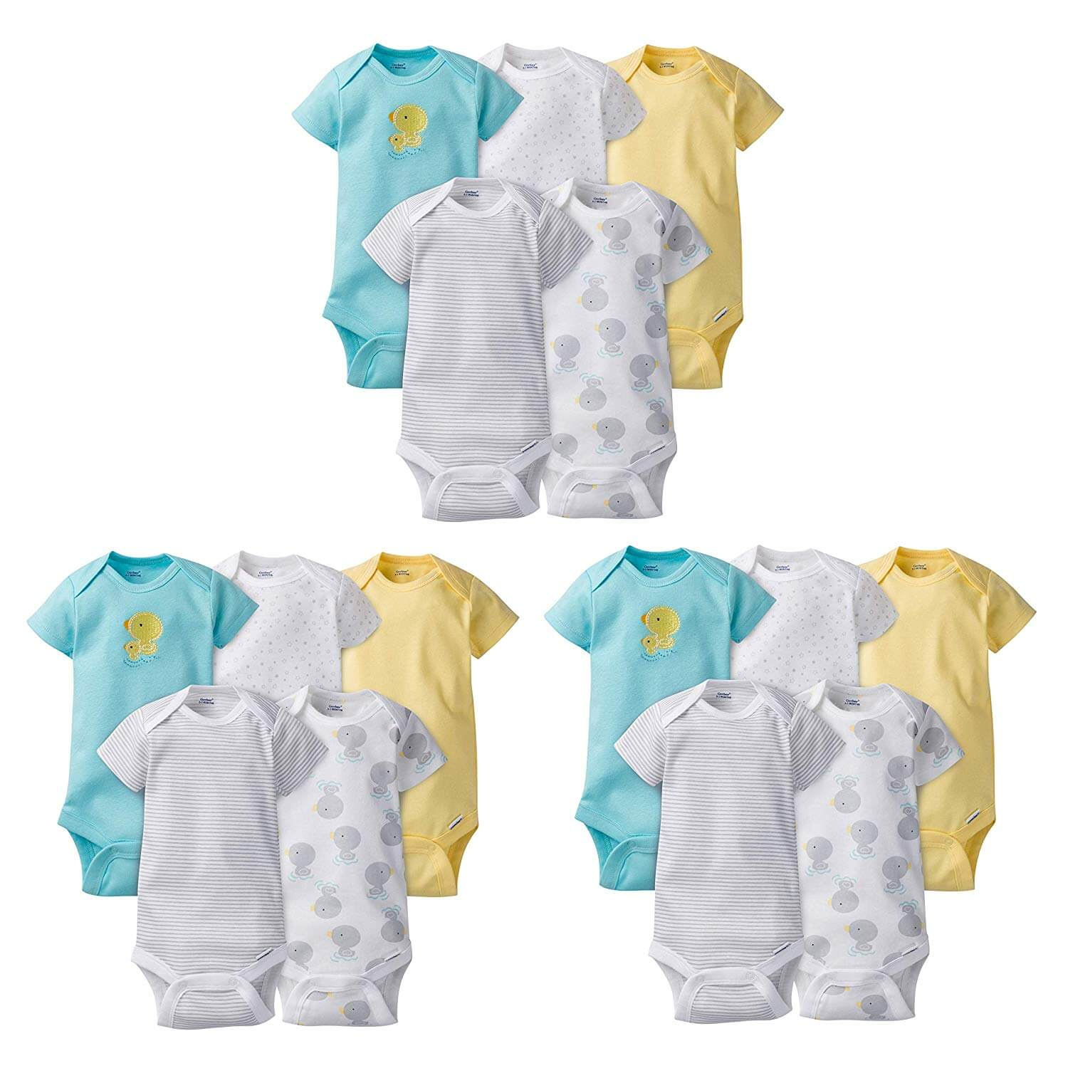 15-Piece Neutral Duck Onesies Brand Short Sleeve Bodysuits Grow-with-Me Set