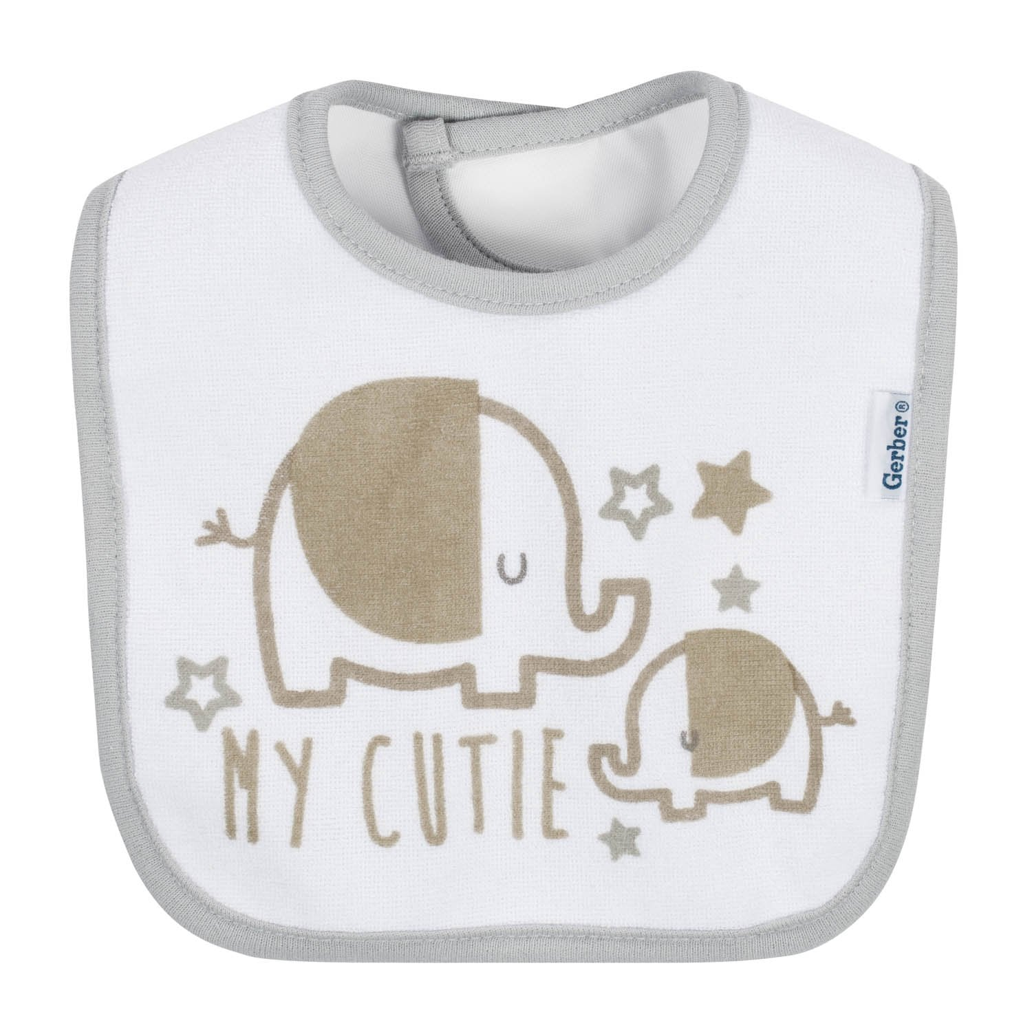 3-Pack Neutral Grey Elephant Dribbler Bibs-Gerber Childrenswear