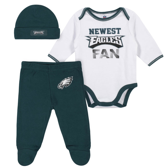 the best attitude a2ea3 ed211 Baby Boys Philadelphia Eagles 3-Piece Bodysuit, Pant and Cap Set