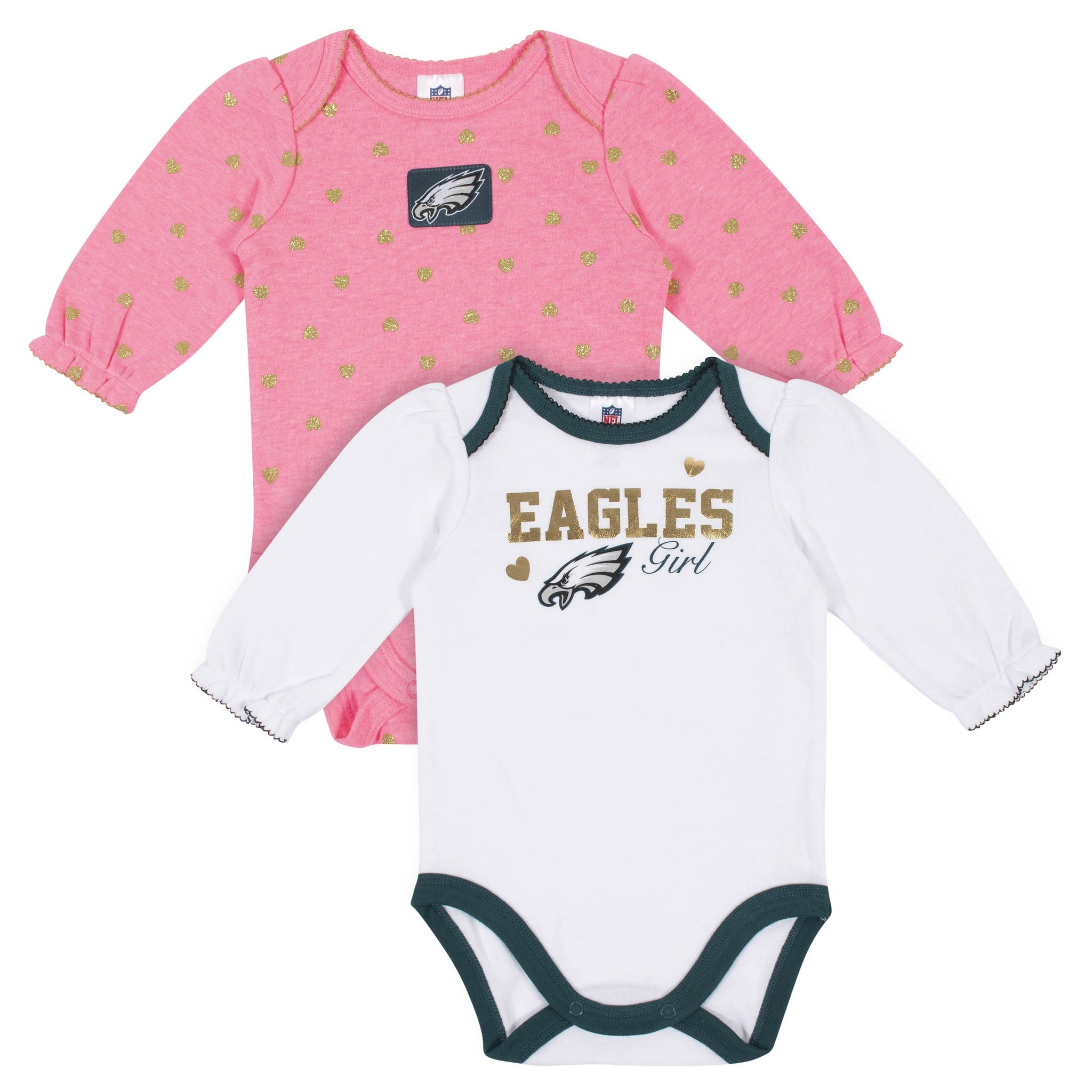Baby Girls Philadelphia Eagles Long Sleeve Bodysuit, 2-pack -Gerber Childrenswear