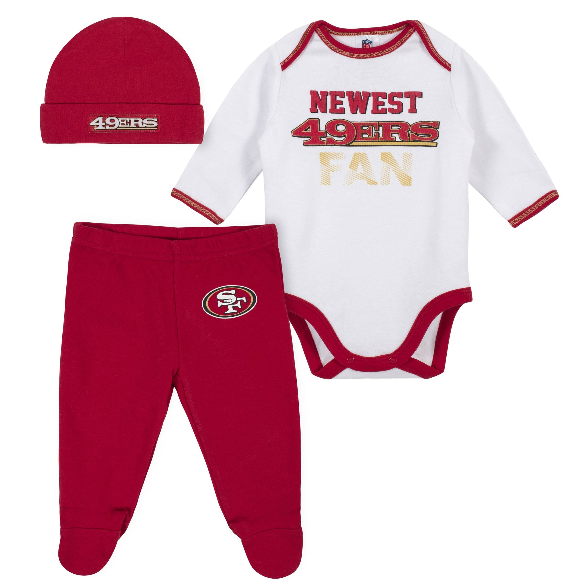 Baby Boys San Francisco 49ers 3-Piece Bodysuit, Pant and Cap Set