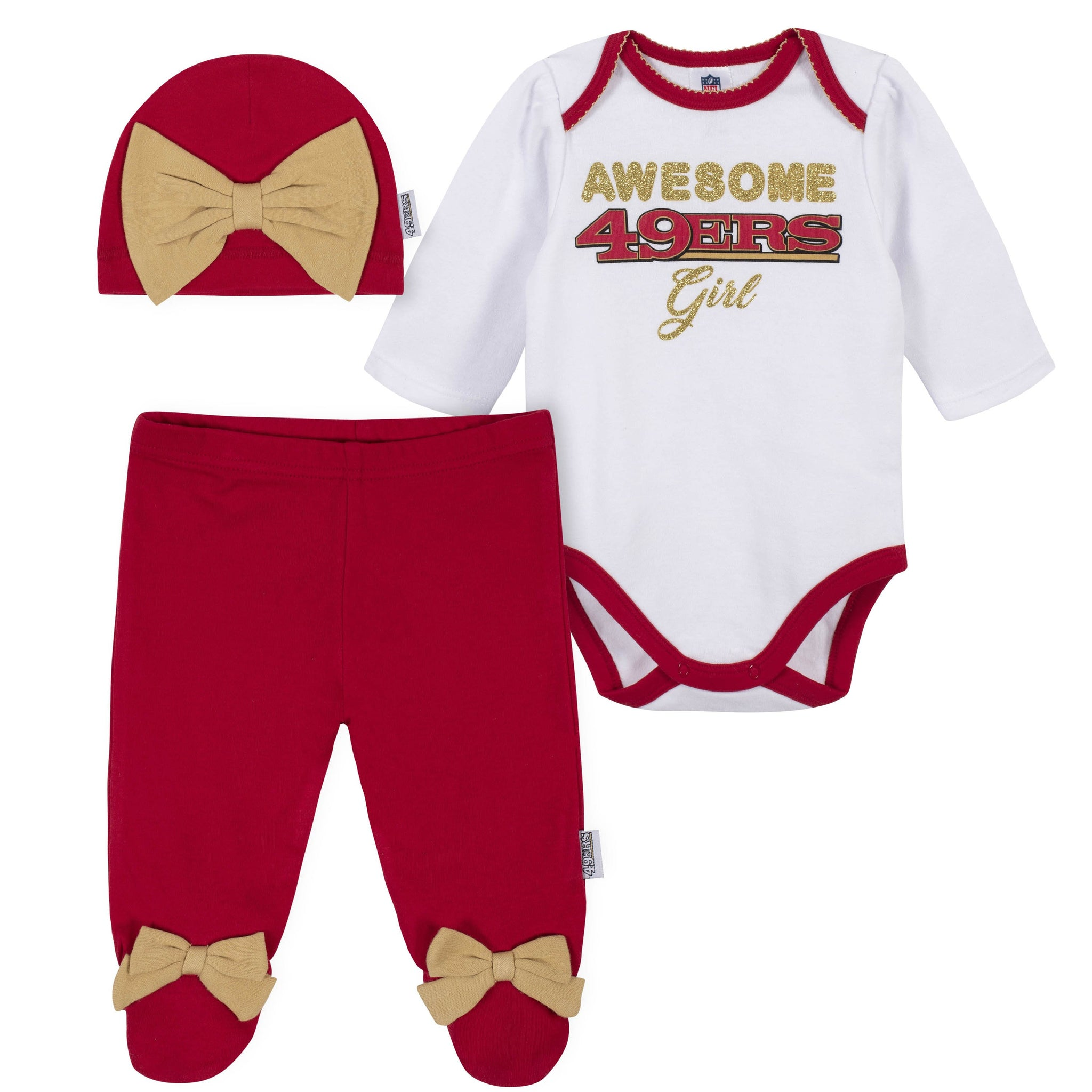 Baby Girls San Francisco 49ers 3-Piece Bodysuit, Pant, and Cap Set-Gerber Childrenswear