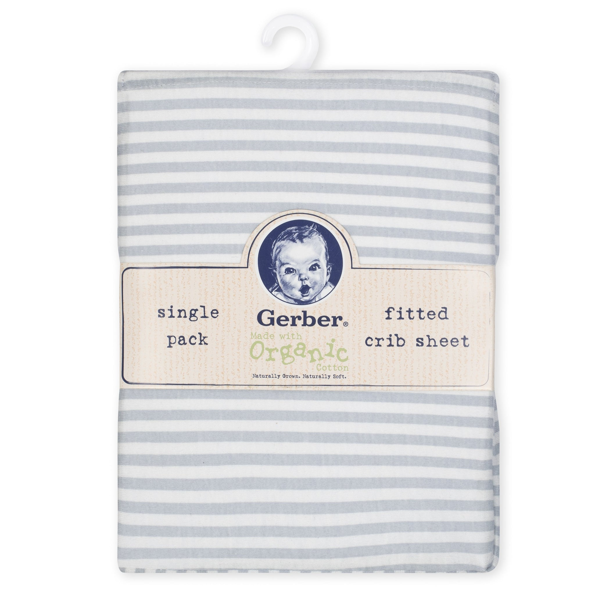 1-Pack Neutral Grey Stripe Organic Fitted Crib Sheet