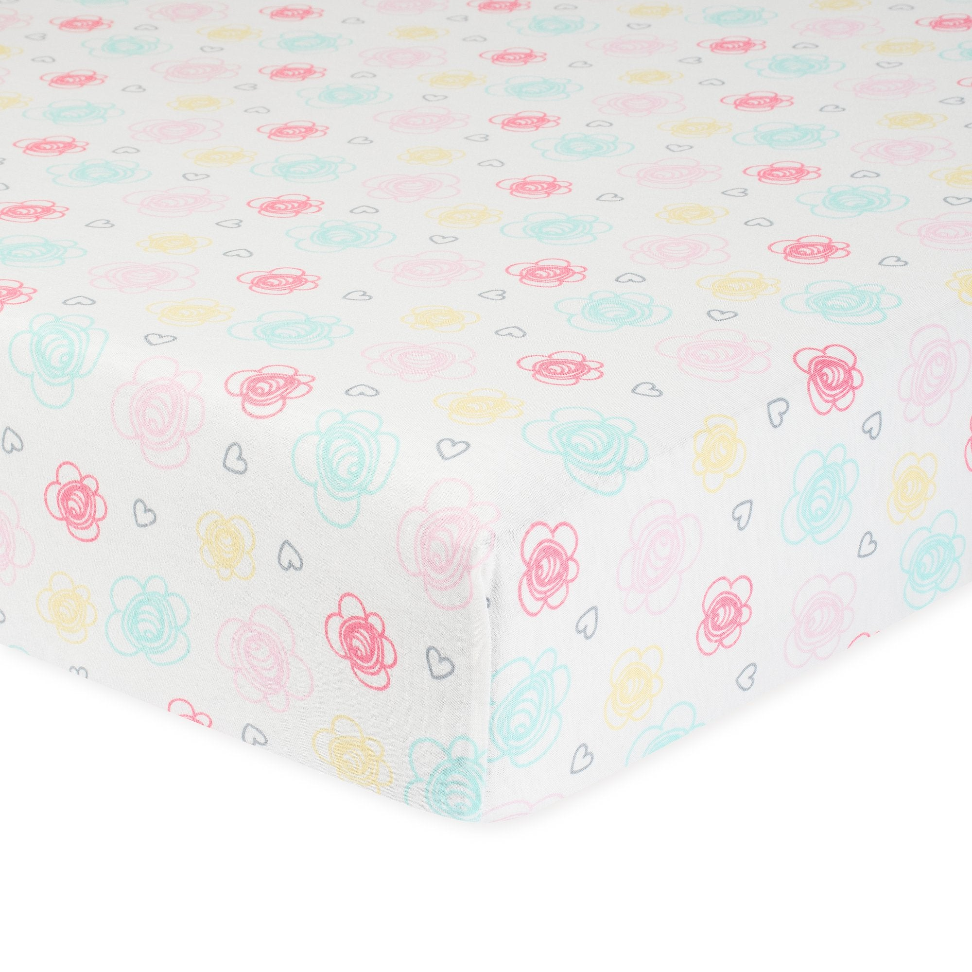 1-Pack Girls Floral Organic Fitted Crib Sheet