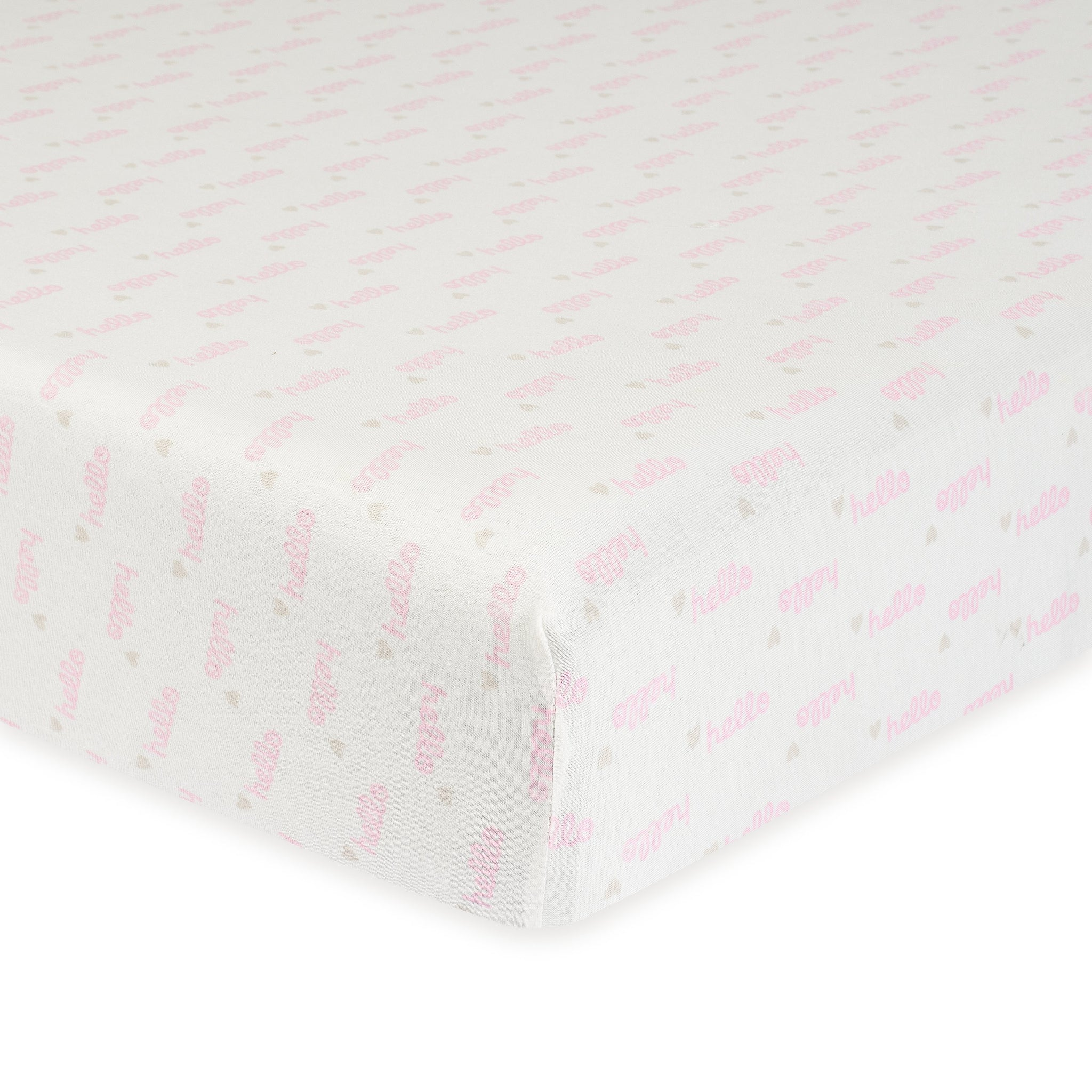 1-Pack Girls Hello Pink Organic Fitted Crib Sheet