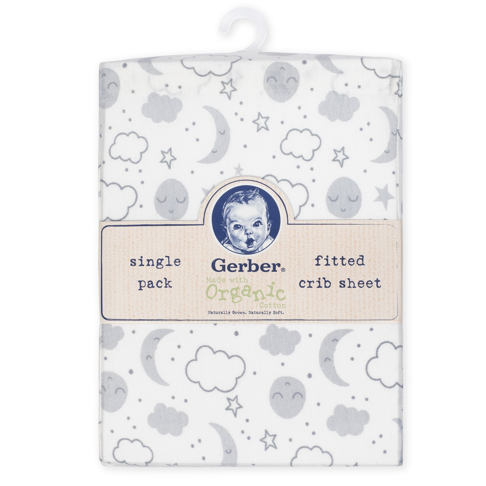 1-Pack Neutral Clouds Organic Fitted Crib Sheet