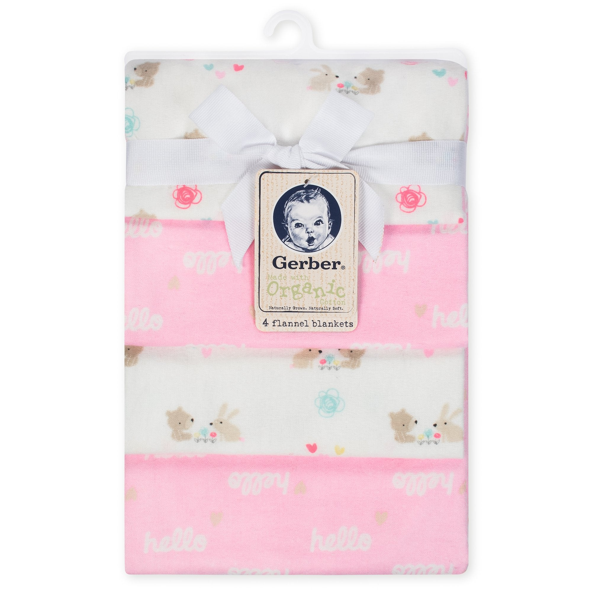 4-Pack Girls Pink Organic Flannel Blankets