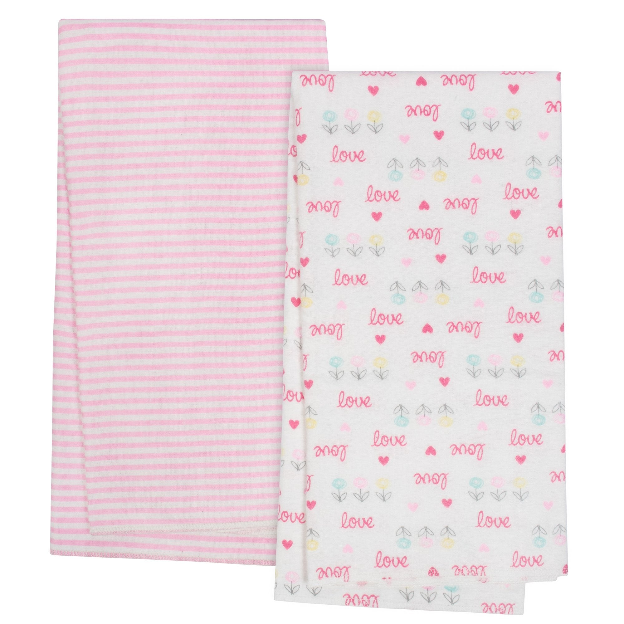 4-Pack Girls Love Organic Flannel Blankets