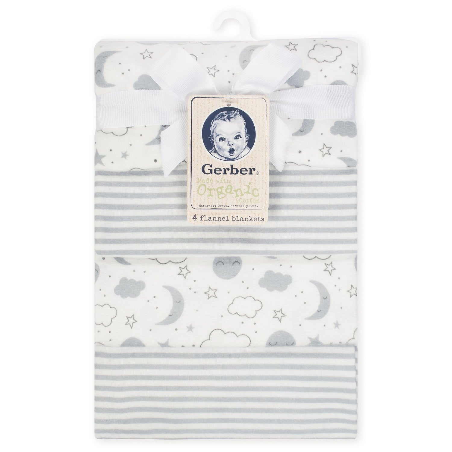 4 Pack Neutral Clouds Organic Flannel Blankets