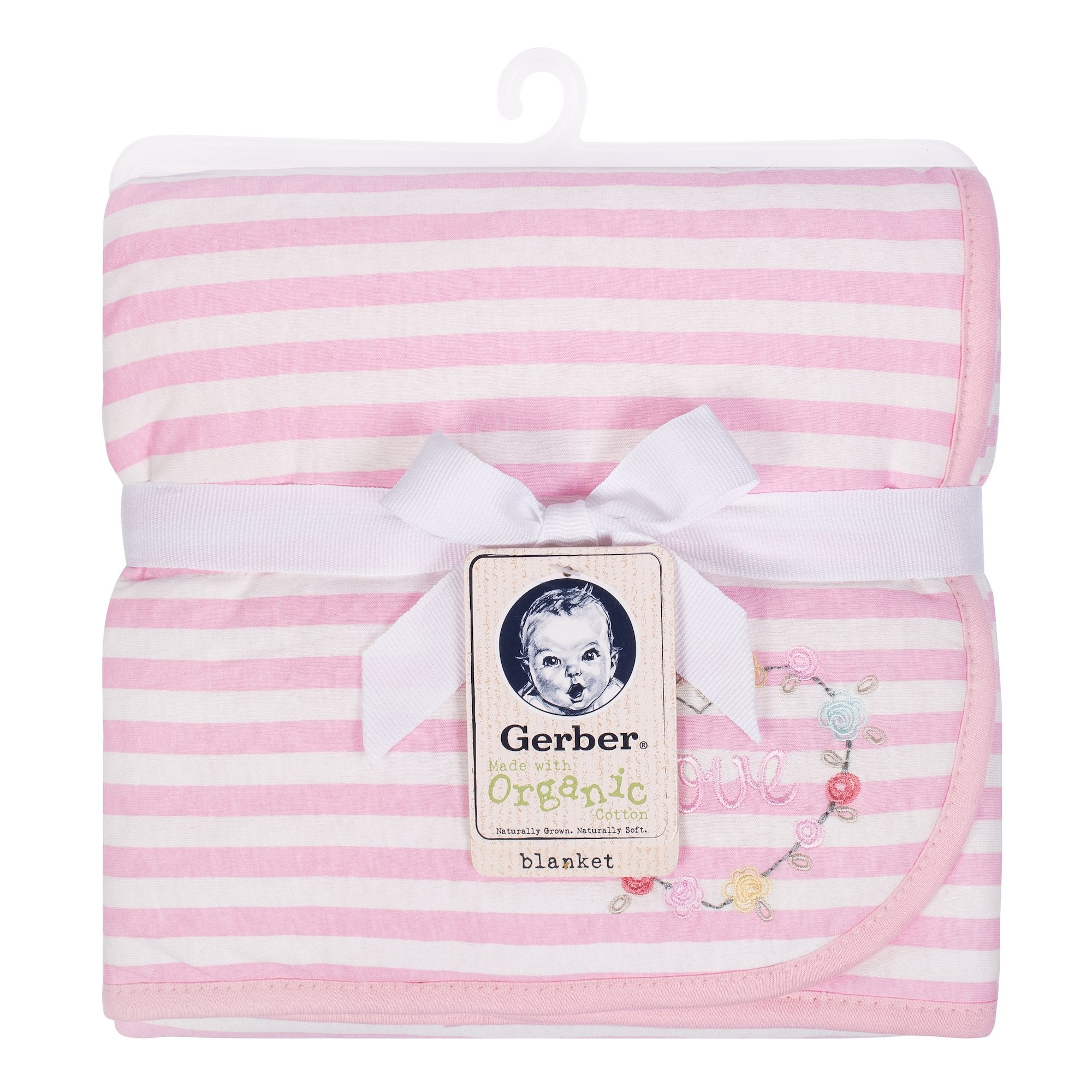 1-Pack Girls Pink Organic 2 Ply Blanket - Love