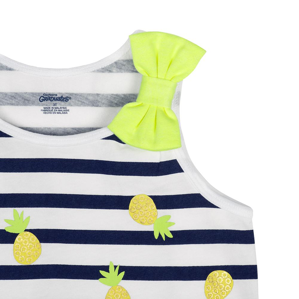 1-Pack Girls Pineapple Top with Yellow Bow