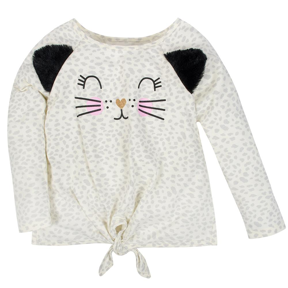2-Pack Girls Leopard & Stars Long Sleeve Tops