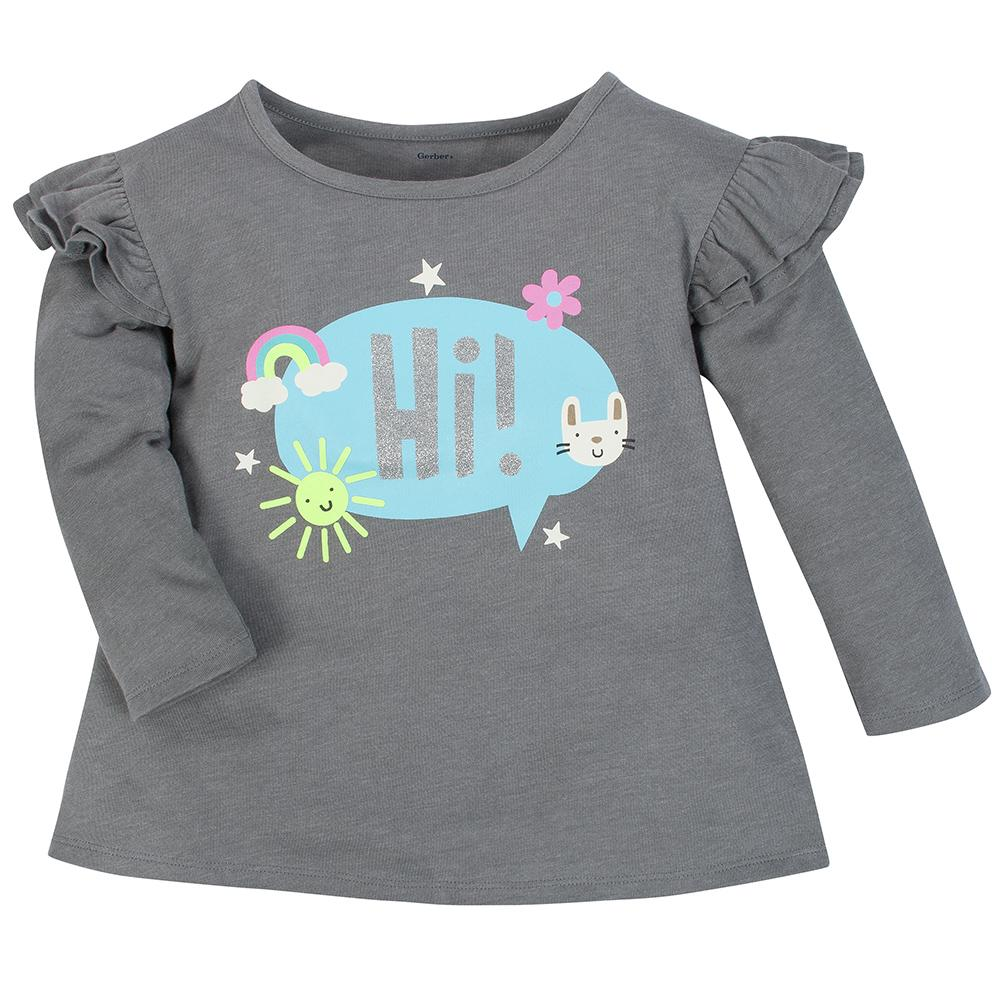 2-Pack Girls Bunny & Dark Gray Heather Long Sleeve Tops