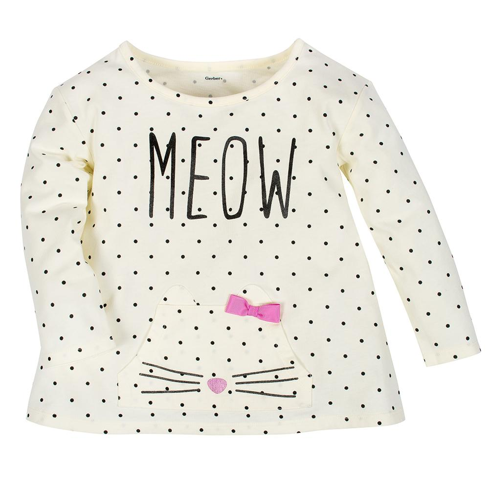 2-Pack Girls Meow & Black Stripes Long Sleeve Tops