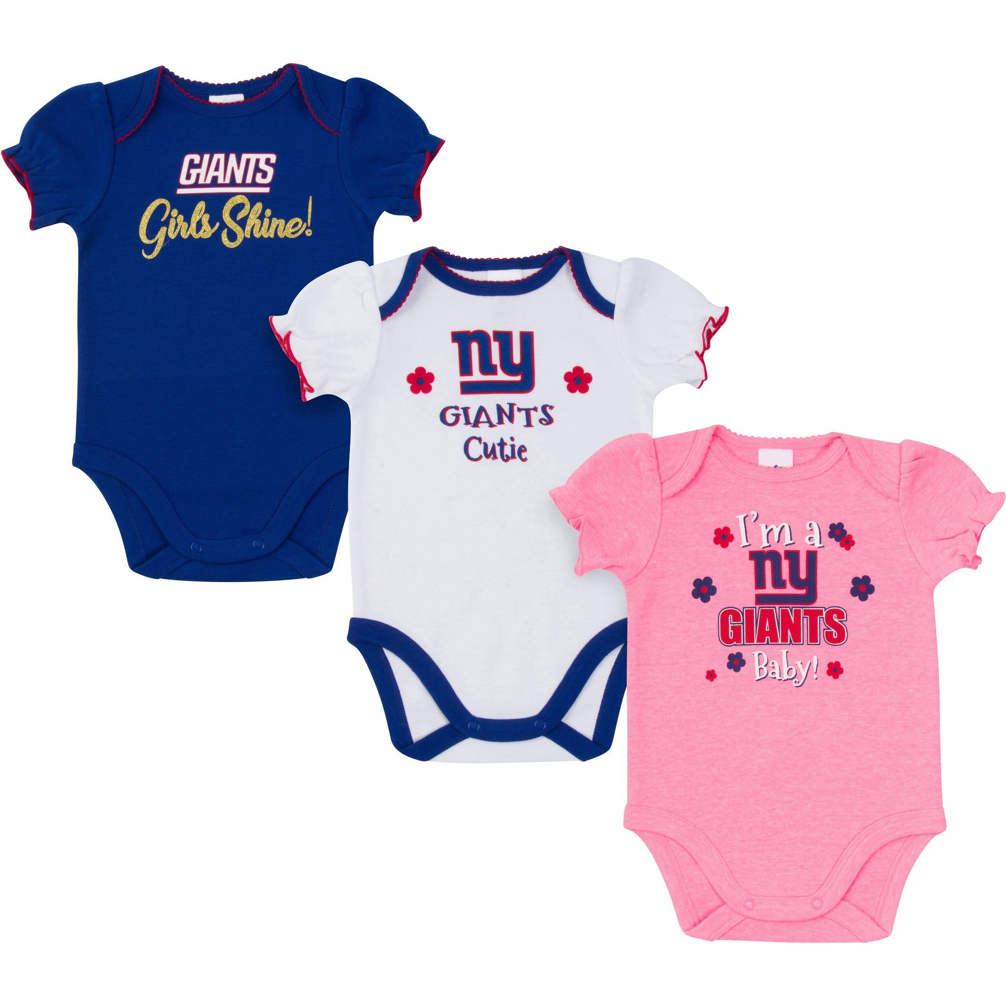 New York Giants Baby Girl Short Sleeve Bodysuit, 3-pack -Gerber Childrenswear