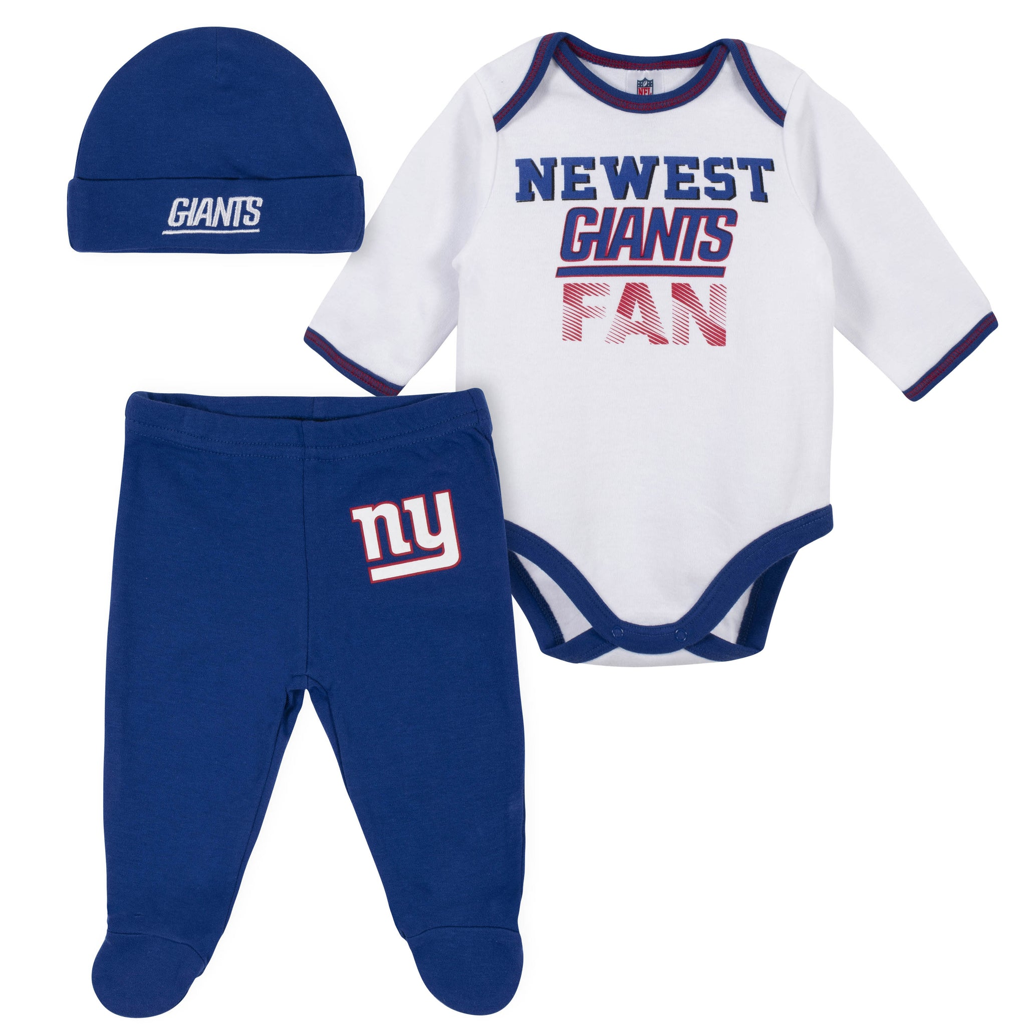 Baby Boys New York Giants 3-Piece Bodysuit, Pant and Cap Set-Gerber Childrenswear