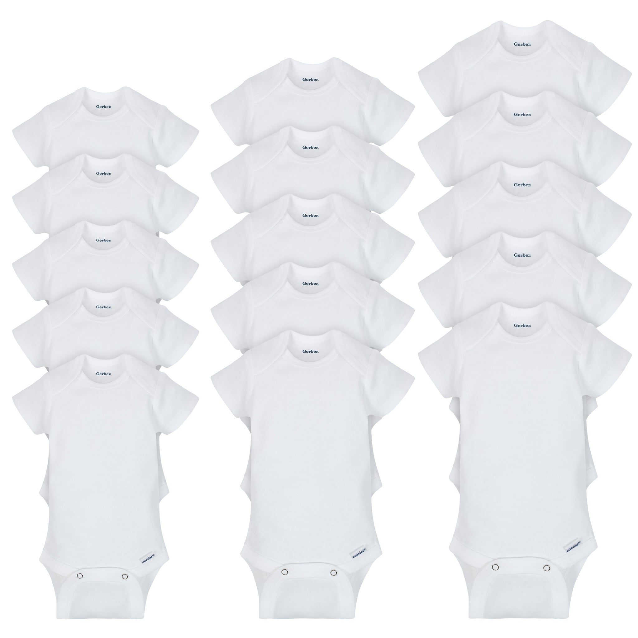 15-Pack Grow-With-Me White Onesies® Brand Short Sleeve Bodysuit Assorted Size Set-Gerber Childrenswear