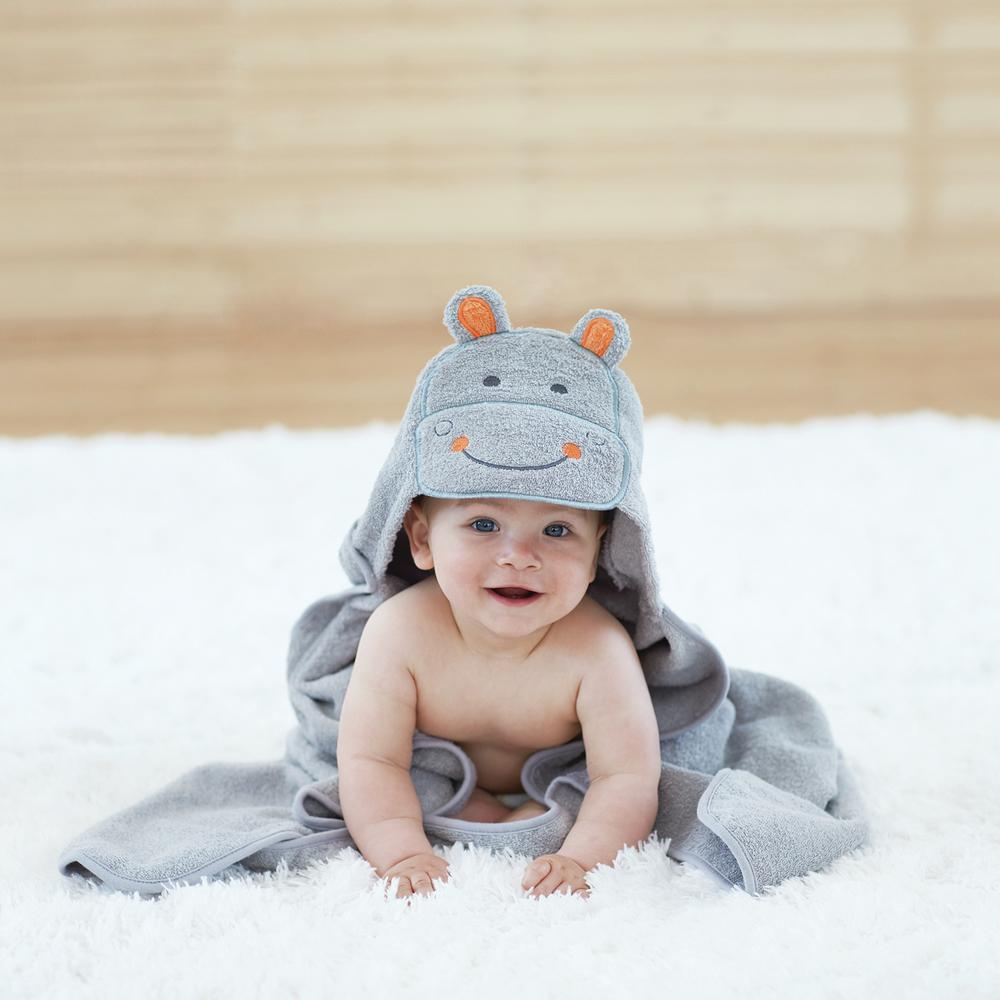 Just Born® Love to Bathe Woven Hippo Hooded Towel in Grey-Gerber Childrenswear