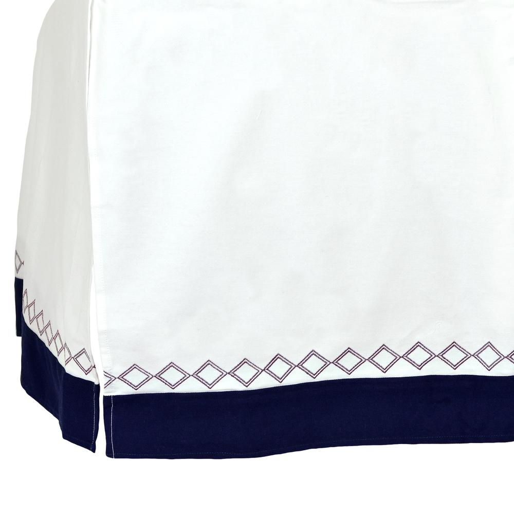 Dream Crib Skirt, White & Navy Diamond-Gerber Childrenswear