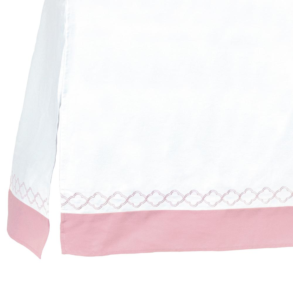 Dream Crib Skirt, White & Pink Trellis-Gerber Childrenswear