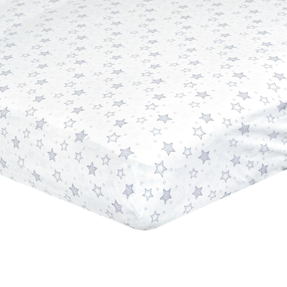 Dream Fitted Crib Sheet, Navy Stars-Gerber Childrenswear