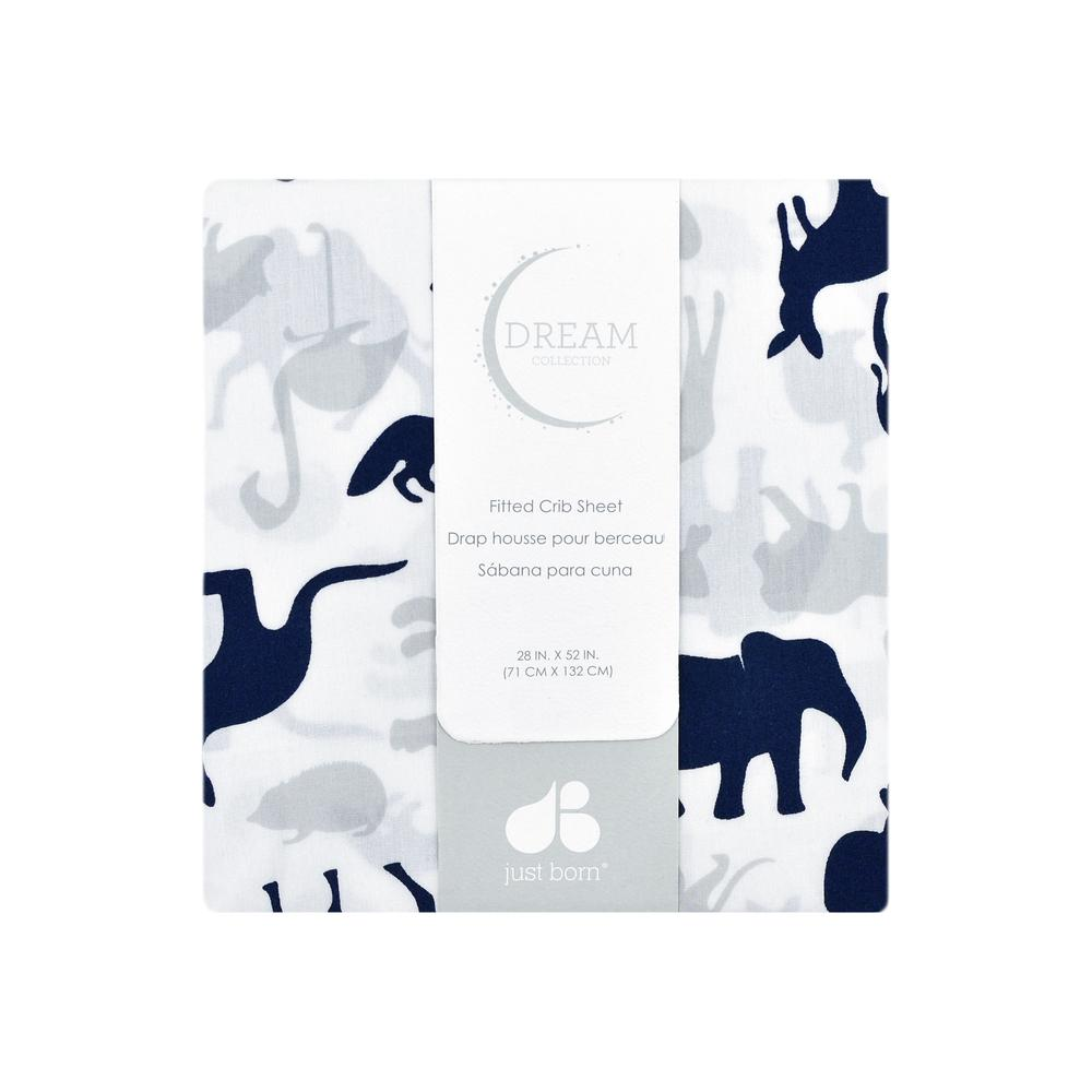 Just Born Dream Fitted Crib Sheet, Navy Jungle-Gerber Childrenswear