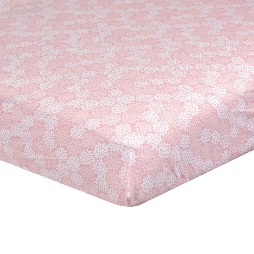Dream Fitted Crib Sheet, Pink Floral-Gerber Childrenswear