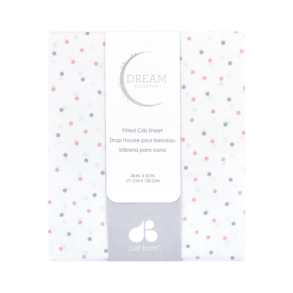 Just Born Dream Fitted Crib Sheet, Pink Dots-Gerber Childrenswear
