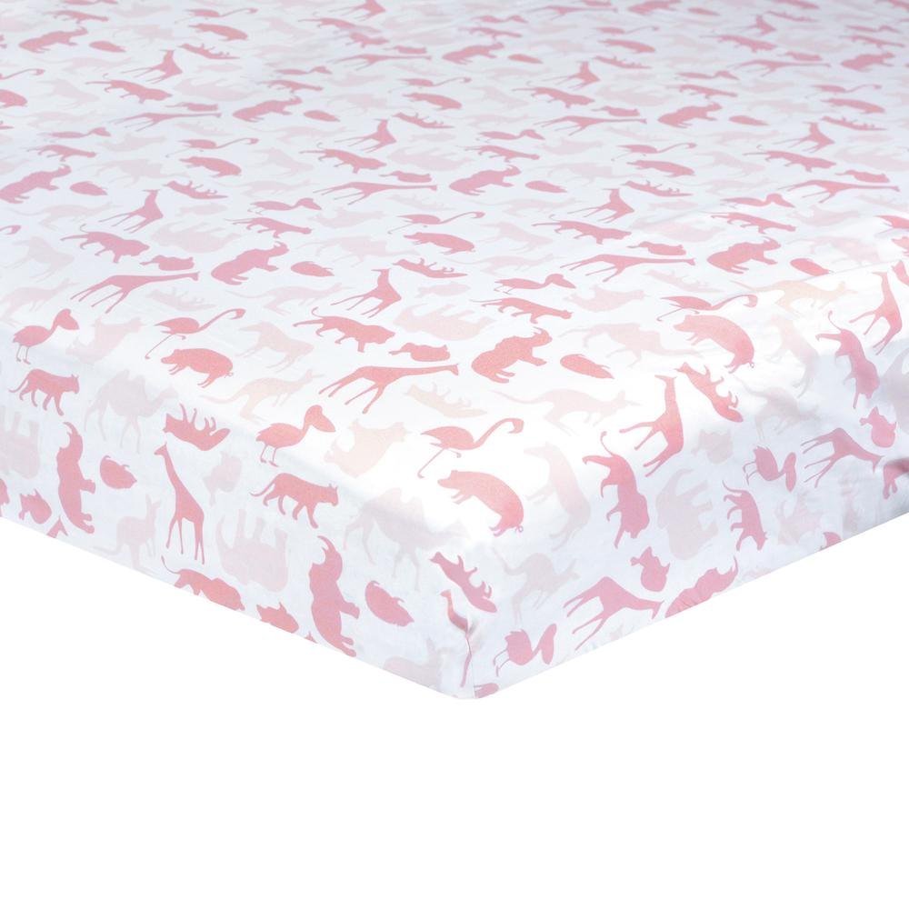 Dream Fitted Crib Sheet, Pink Jungle-Gerber Childrenswear