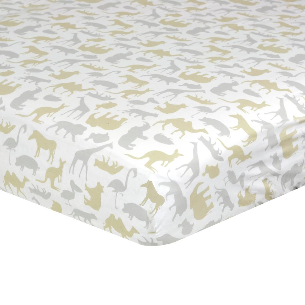 Dream Fitted Crib Sheet, Taupe Jungle-Gerber Childrenswear