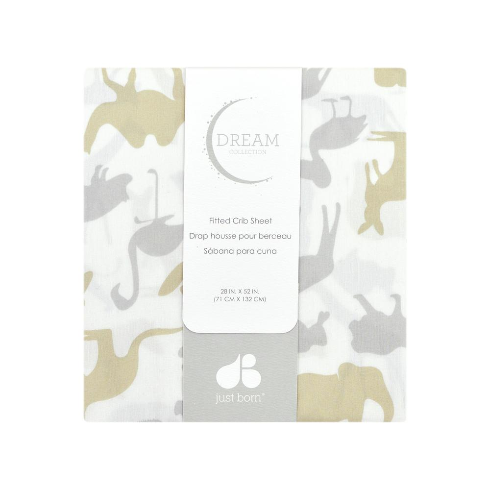 Just Born Dream Fitted Crib Sheet, Taupe Jungle-Gerber Childrenswear