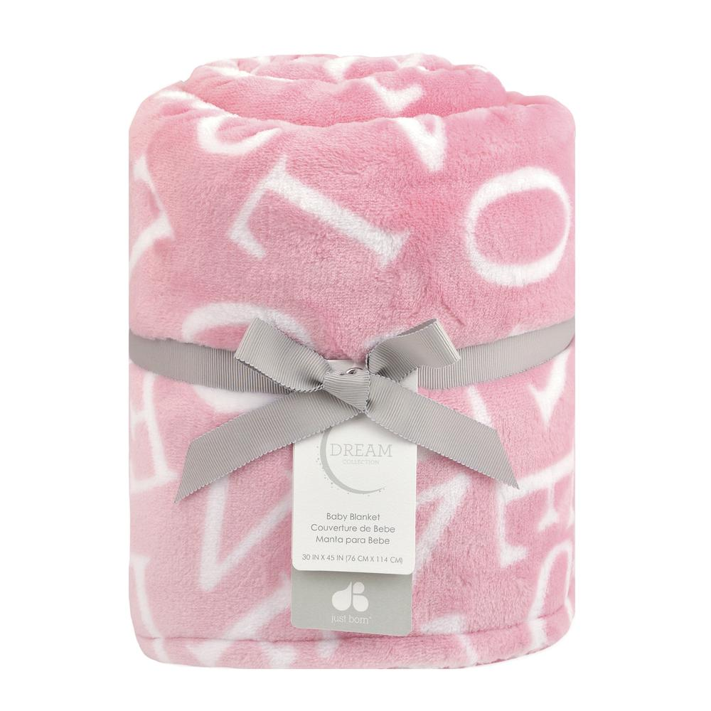 "Dream ""Love"" Plush Blanket, Pink-Gerber Childrenswear"