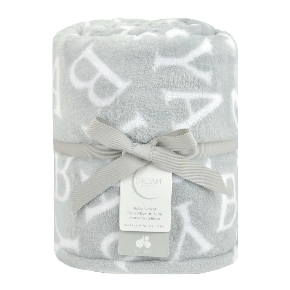 "Dream ""Baby"" Plush Blanket, Gray-Gerber Childrenswear"