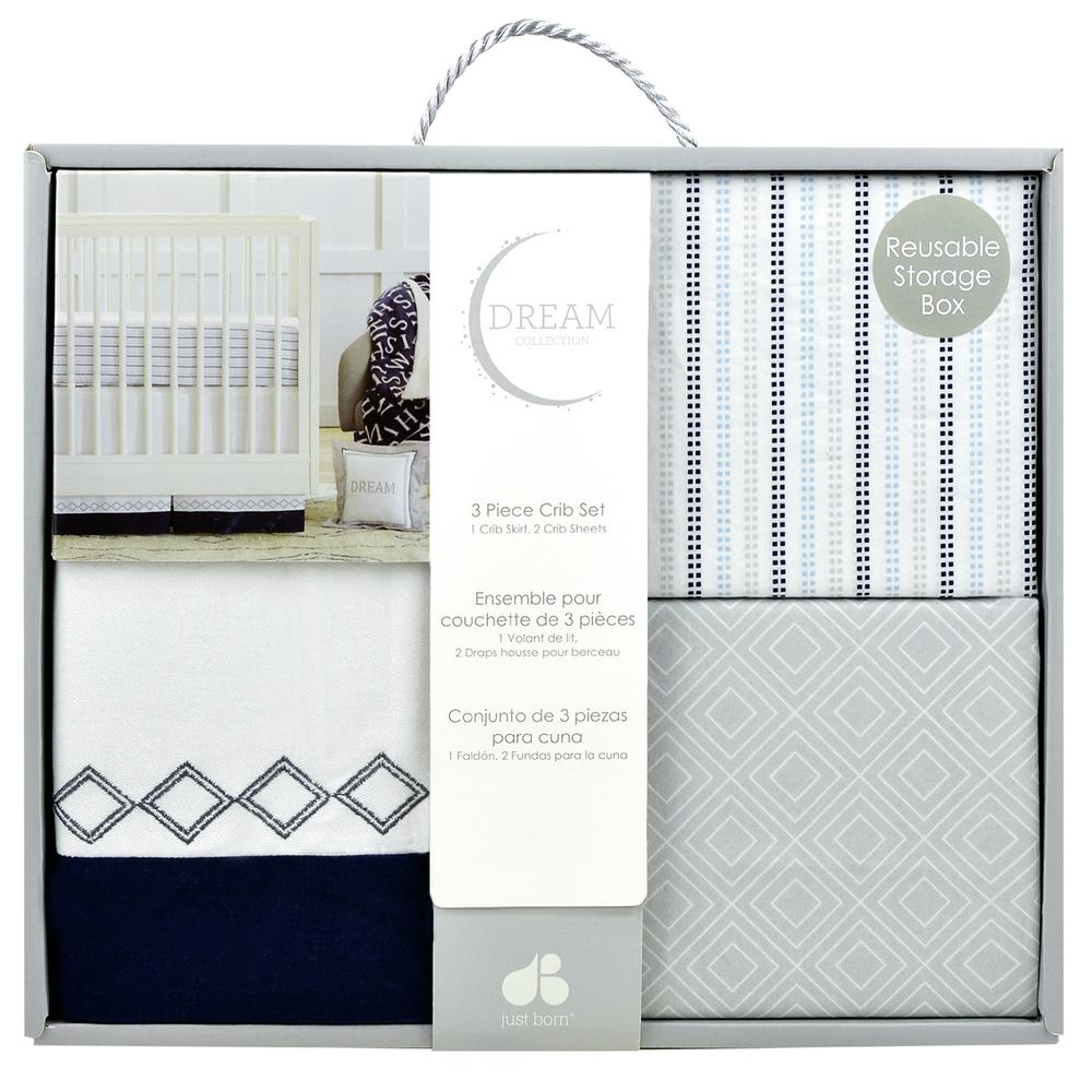 Dream 3-Piece Crib Set, Navy/Gray-Gerber Childrenswear