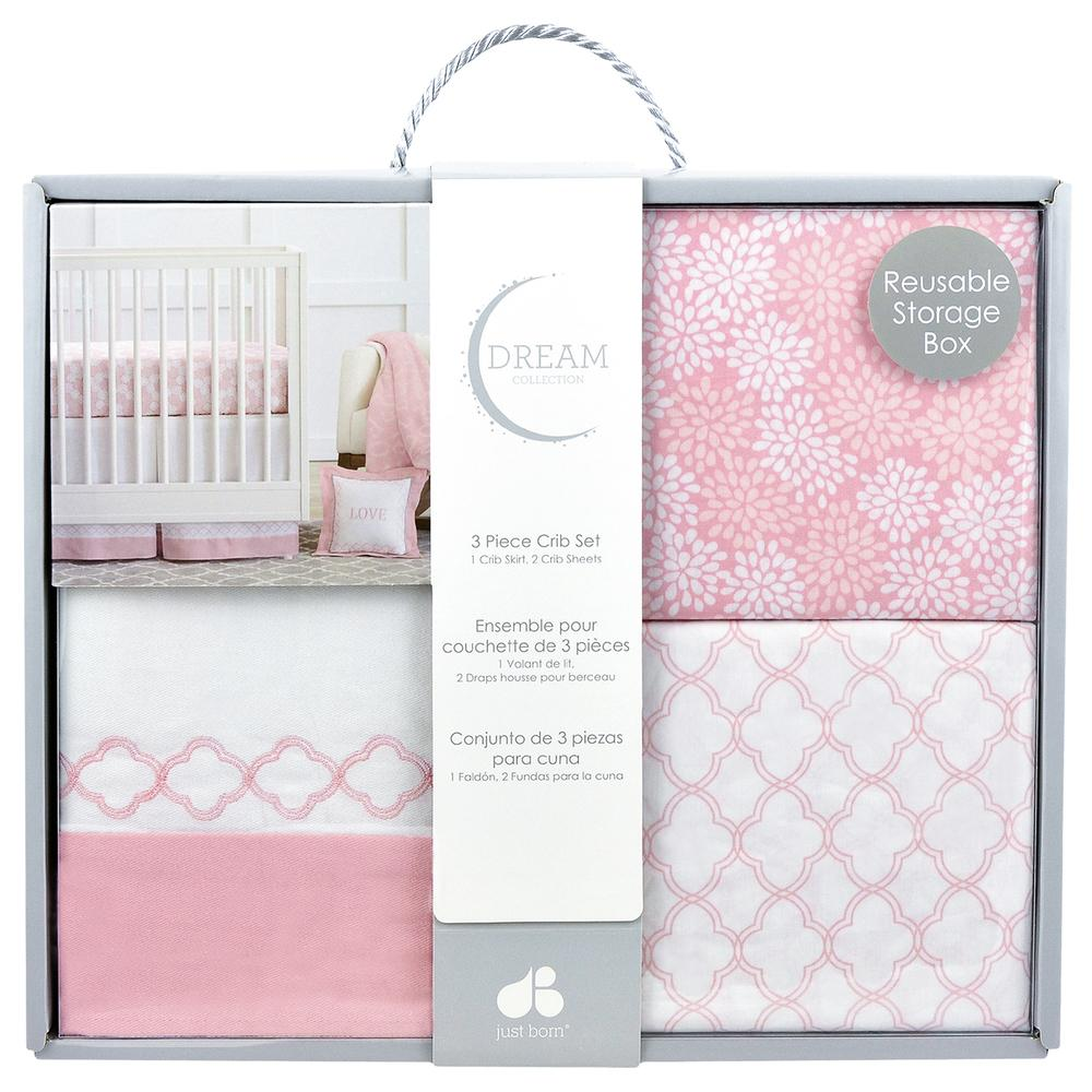 Dream 3-Piece Crib Set, Pink/White-Gerber Childrenswear