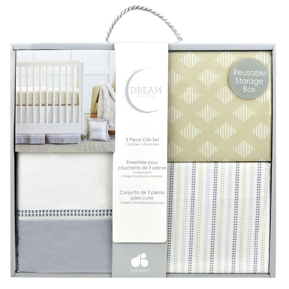 Dream 3-Piece Crib Set, Taupe/Gray-Gerber Childrenswear