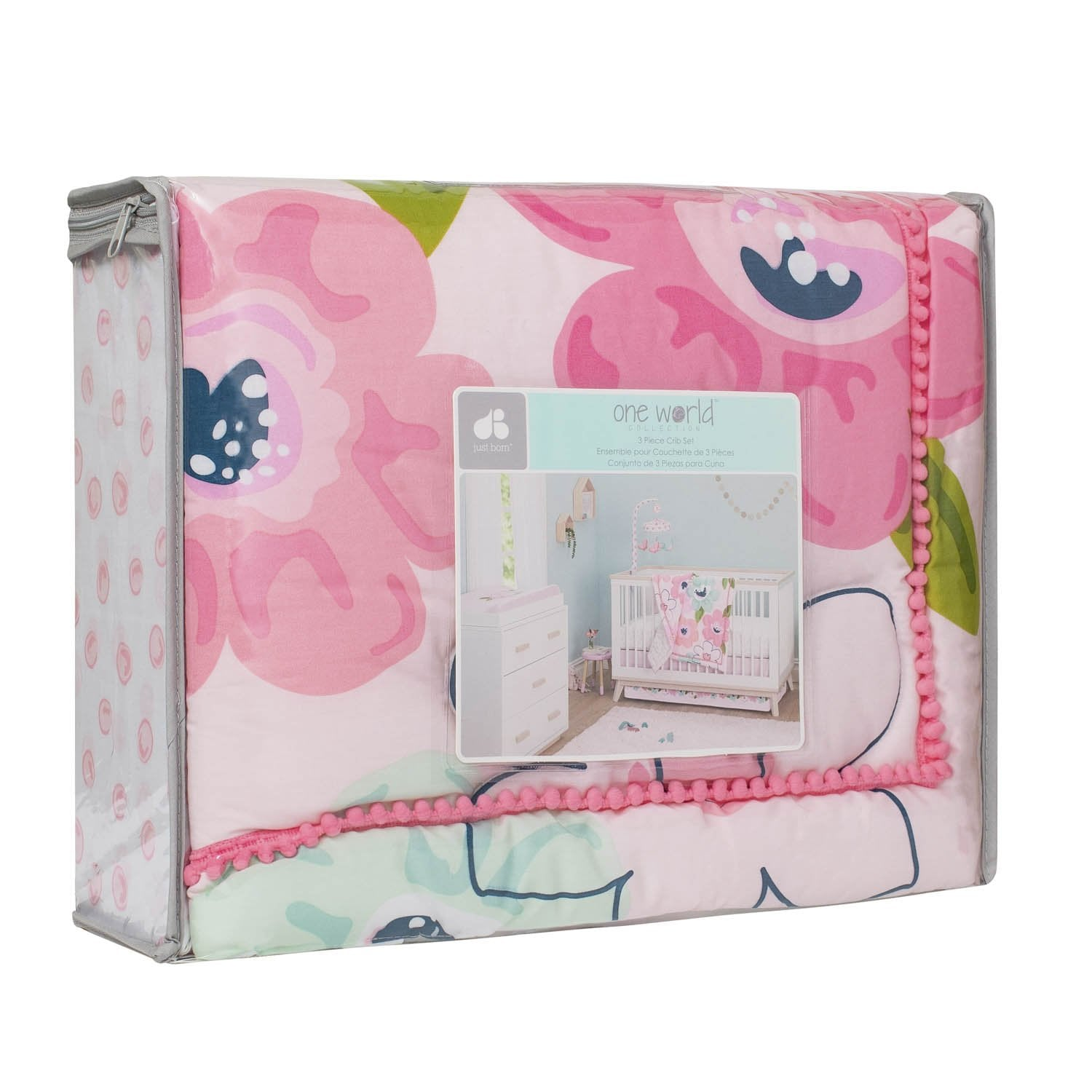 Just Born One World Collection 3-Piece Bedding Set - Blossom